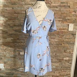 Lush Pale Blue Floral PRAIRIE Wrap DRESS M